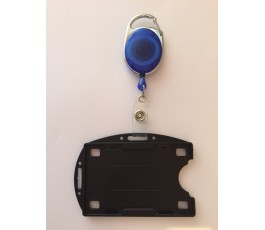 Carabiner Badge Reel with Double Sided Horizontal and Vertical Badge Holder