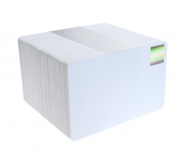100 X Blank White Plastic Cards with Gold Holopatch