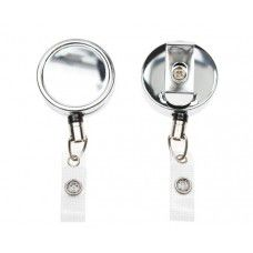 CHROME ID BADGE REELS WITH STRAP CLIP (PACK OF 100)