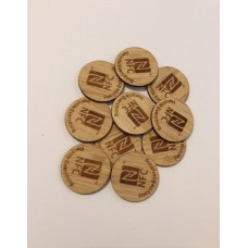 15 X BAMBOO NTAG® 215 25MM CIRCULAR STICKER