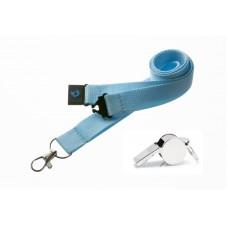 Light Blue Hi Quality 20mm Lanyard with Metal Whistle
