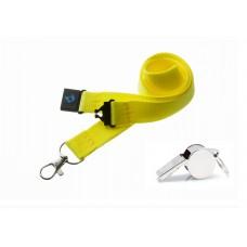 Neon Yellow Hi Quality 20mm Lanyard with Metal Whistle