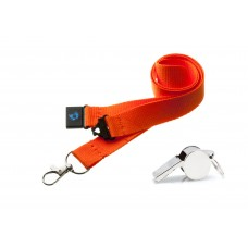 Orange Hi Quality 20mm Lanyard with Metal Whistle