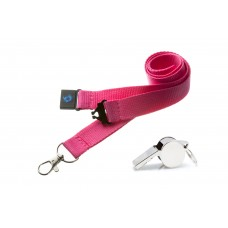 Pink Hi Quality 20mm Lanyard with Metal Whistle