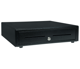CD3-1616BK55-S2, Cash Drawer, Black, 16Wx16D, Printer Driven, 5Bill-5Coin, 2 Media Slots, Cable Included. Part Number 37968760