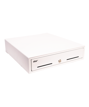 CD3-1313WT45-S2 , Cash Drawer, White, 13Wx13D, Printer Driven, 4Bill-5Coin, 2 Media Slots, Cable Included. Part Number 37965550