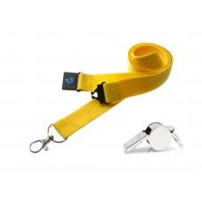 Yellow Hi Quality 20mm Lanyard with Metal Whistle